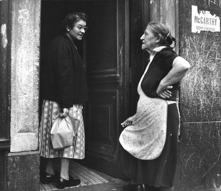 """""""In Conversation, West End, Boston, c. 1947"""" by Jules Aarons (courtesy of the Jules Aarons Estate and Gallery Kayafas, Boston)"""