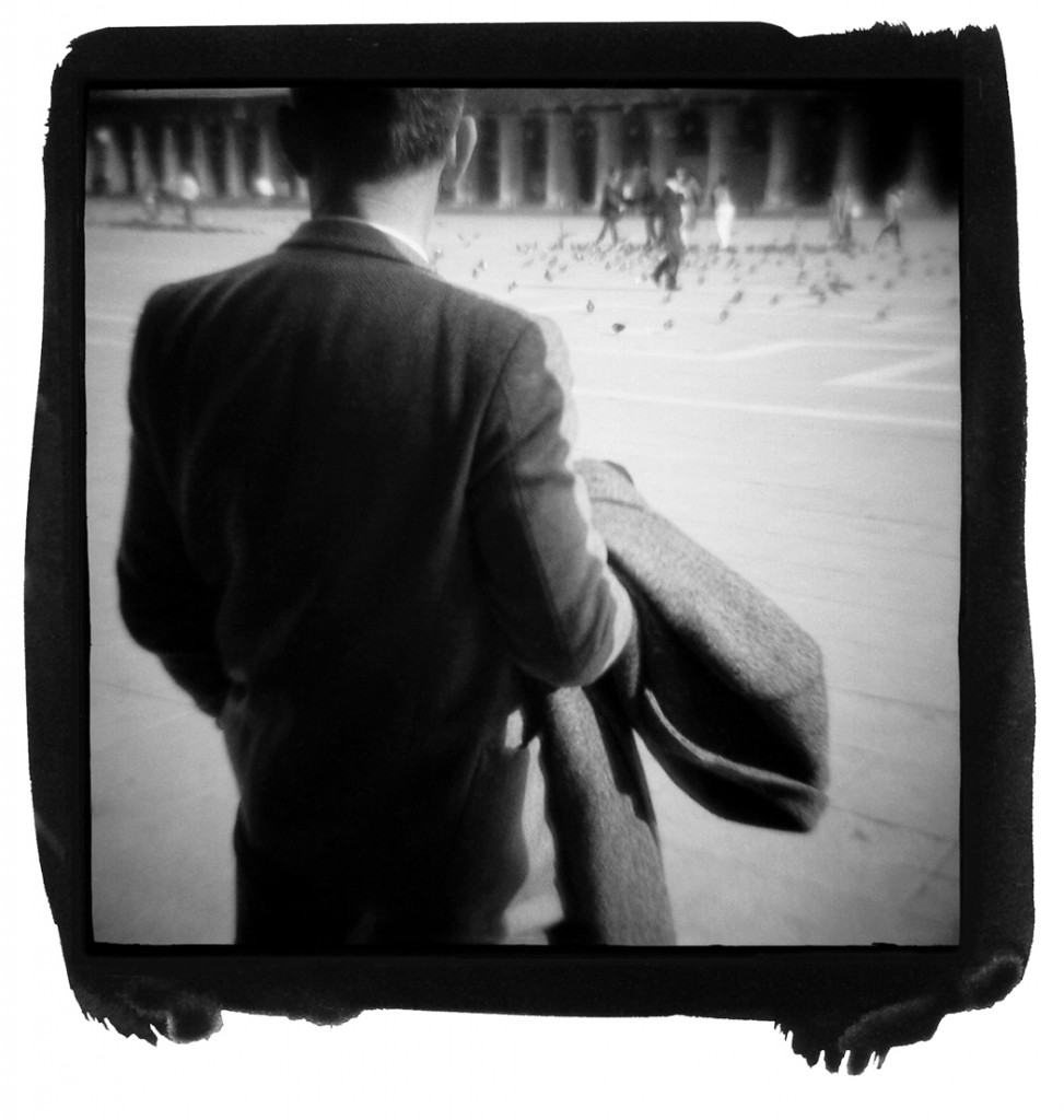 """""""Kafka-Man, Venice, 1987"""", palladium print created from a Diana plastic toy camera by Christopher James (courtesy of the artist/author)"""