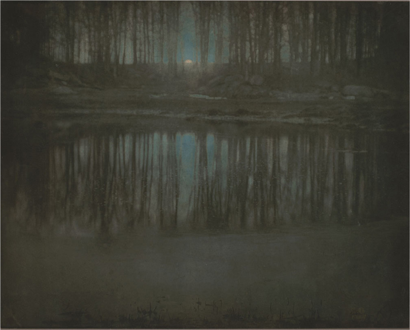 """""""Moonrise – Mamaroneck, New York, 1904"""", from a combination of platinum and cyanotype processes, by Edward Steichen (courtesy of Estate of Edward Steichen and Museum of Modern Art, NYC)"""