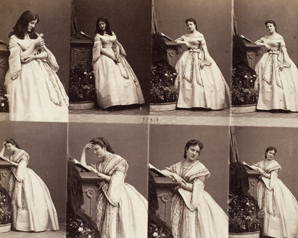 "Cartes-des-visites of ""Madame Cusani, c.1860"" by French couple Genevieve Elizabeth Francart and Andre-Adolphe-Eugene Disderi"