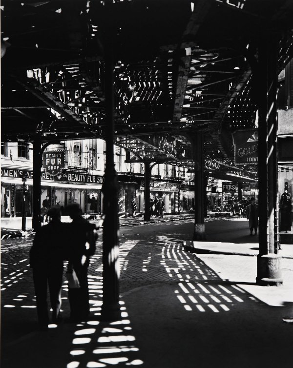 """""""From New York IV"""" gelatin silver print by Berenice Abbott (courtesy of the Addison Gallery, Andover, MA)"""
