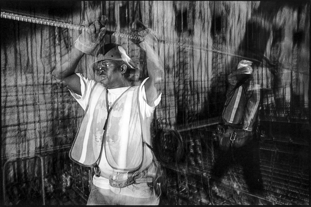 """Raising rebar under Haymarket, 2000"" by Michael Hintlian (courtesy of the artist)"