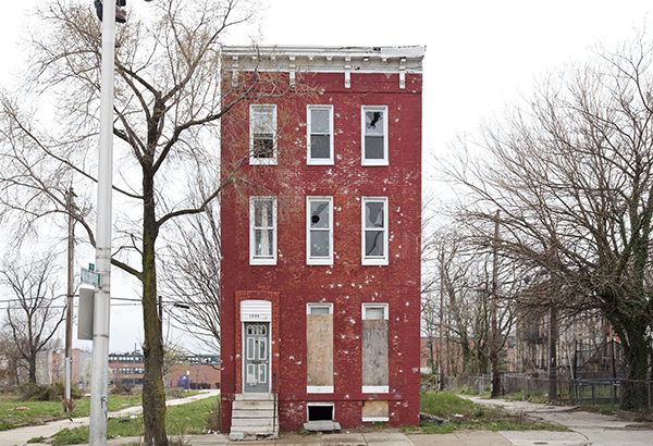 """Baltimore, MD, 2011/2013"" from the series ""Last House Standing"" by Ben Marcin (courtesy of the artist and C. Grimaldis Gallery, Baltimore)."