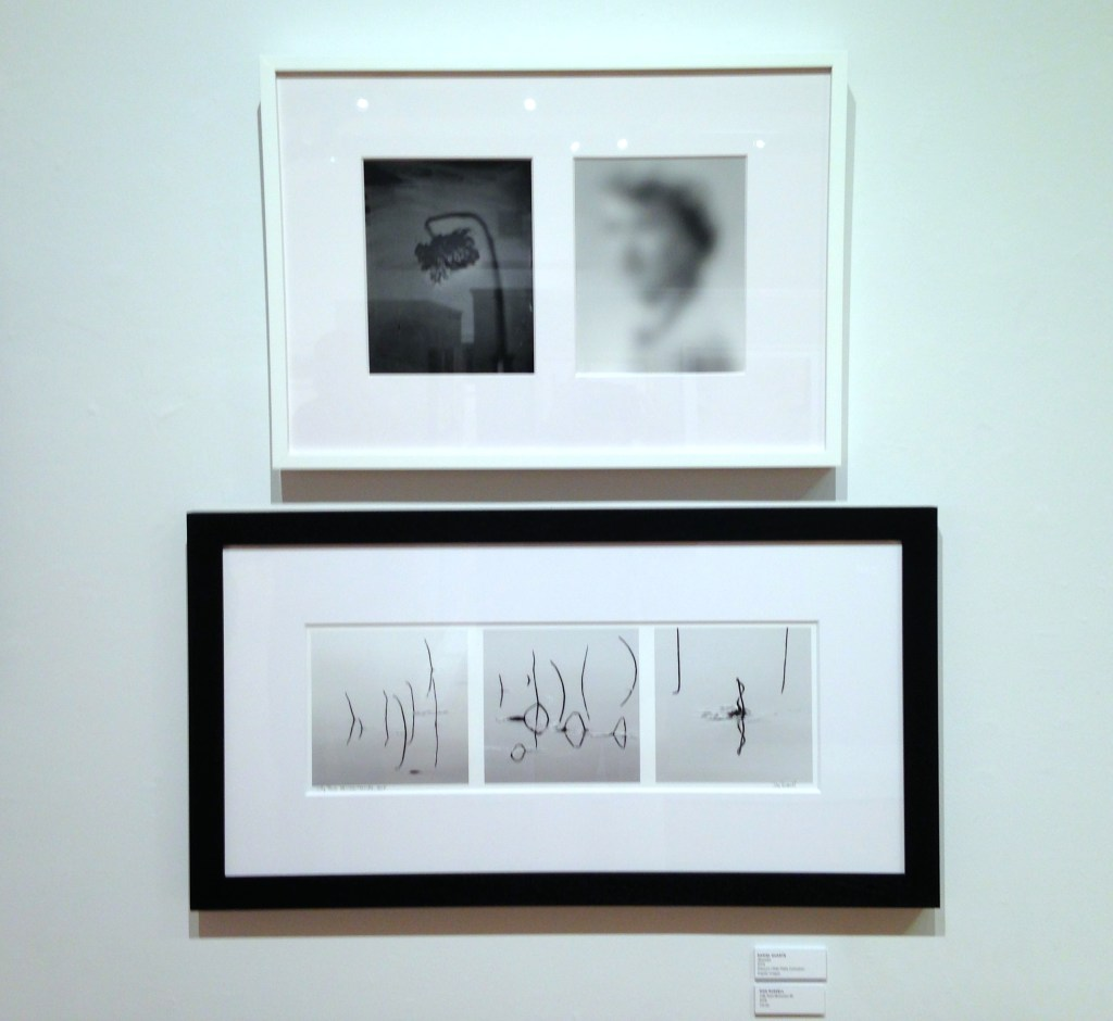 Installation view of diptych (wet plate collodion and digital image) by Daniel Duarte (top) and inkjet print by Don Russell (bottom). (courtesy of the artists)