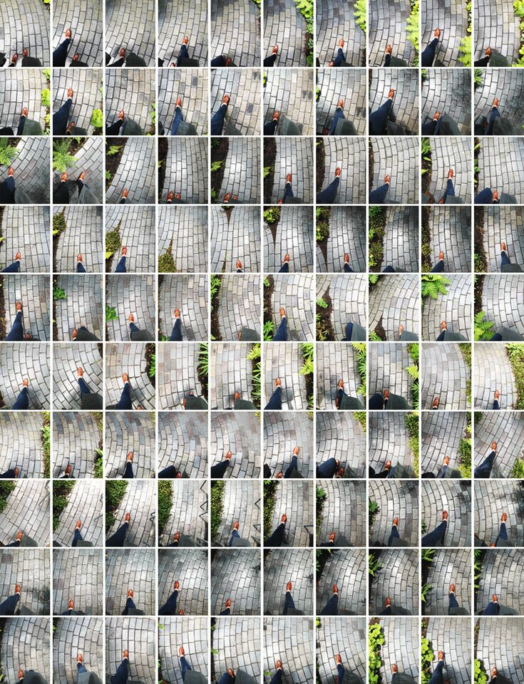"""Walk 6/14/14 Isabella Stewart Gardner Museum Garden, Boston (12:28:53-12:31:34 pm), 2014"" archival pigment print by Suzette Bross (courtesy of the artist and 555 Gallery, Boston)."