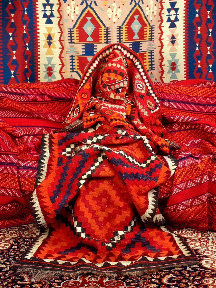 """Kilim, 2012"" from the series Anonymous Women (Draped) by Patty Carroll (courtesy of the artist and 555 Gallery, Boston)."