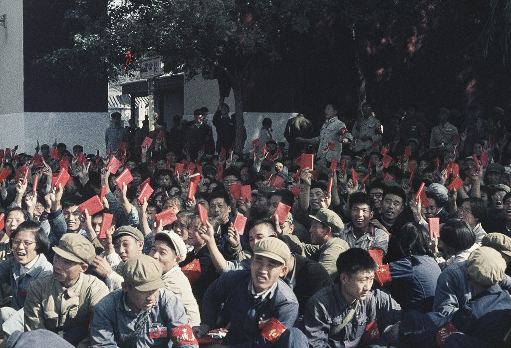 """Untitled (National Day. In a street adjacent to Tiananmen Square, the crowds wait their turn to march), Beijing, China, October 1, 1966"" by Solange Brand (courtesy of the artist and Robert Klein Gallery, Boston)."