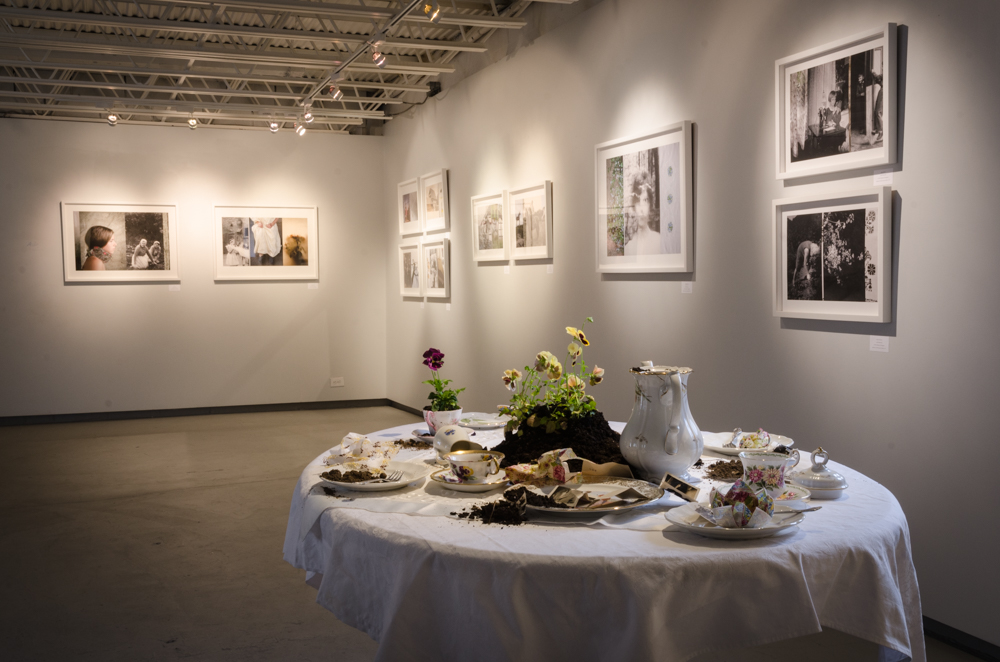 "Installation view of ""Spin Club Coffee Table"" from the series Stories From the Kitchen Table by Astrid Reischwitz (courtesy of the artist and 555 Gallery, Boston)."