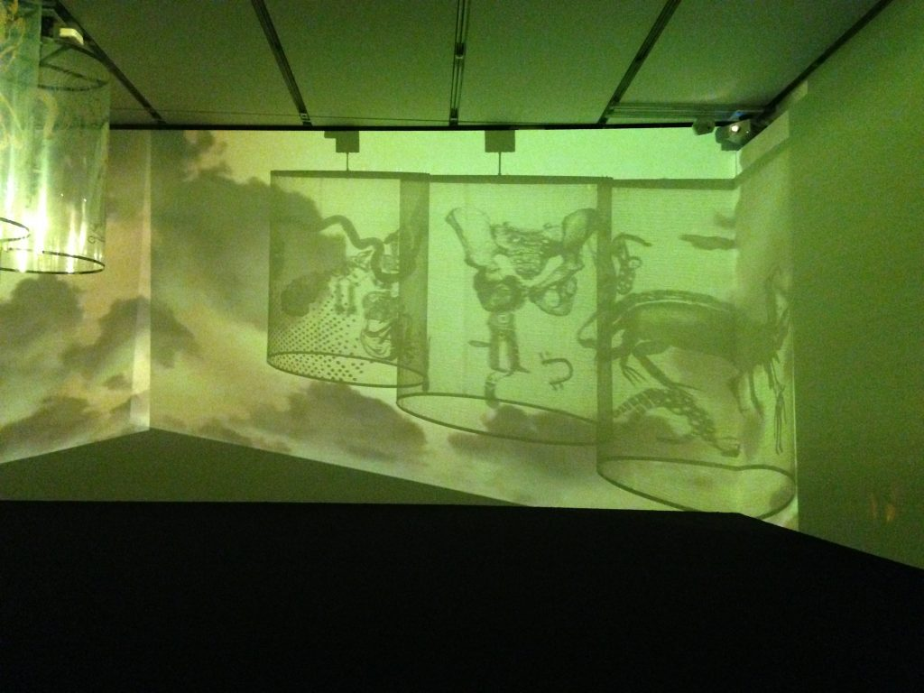 """Installation view of """"In Search of Vanished Blood, 2012"""" by Nalini Malani (courtesy of ICA, Boston). Photo by Elin Spring."""