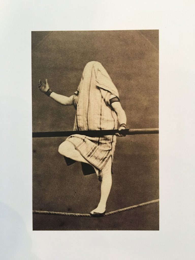 """Hooded Man on a Wire, 19th C."" albumen print by Fratelli Alinari"
