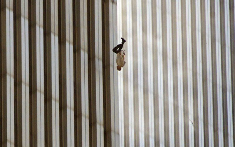 """Terrorist Attack (The Falling Man), September 11, 2001"" by Richard Drew (courtesy of AP Worldwide Photos)."