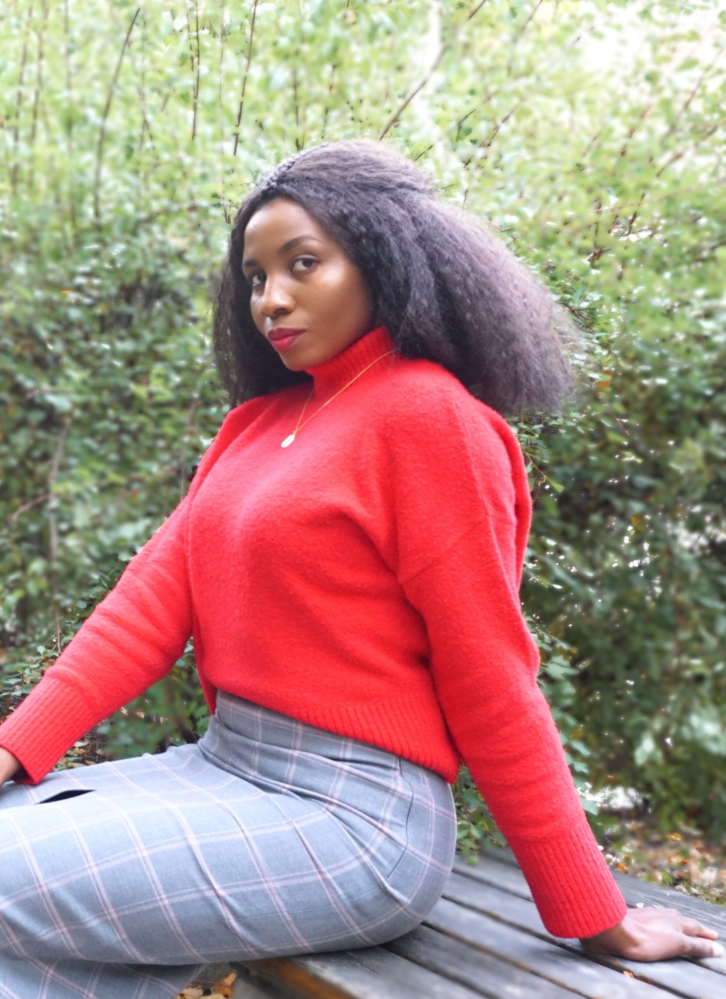 Autumnal style - fall transition - and other stories red mock neck jumper and grey pencil skirt. Fall fashion