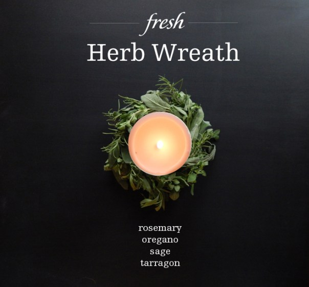 Herb wreath with candle