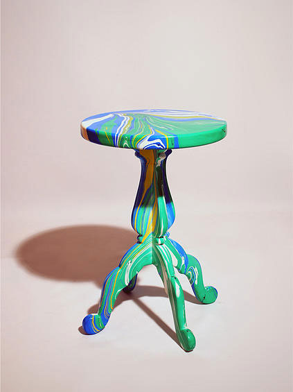 Metafaux marbled stool