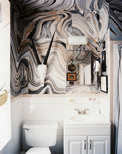 Marbled bathroom wallpaper