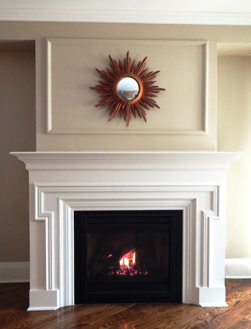 white wood fireplace