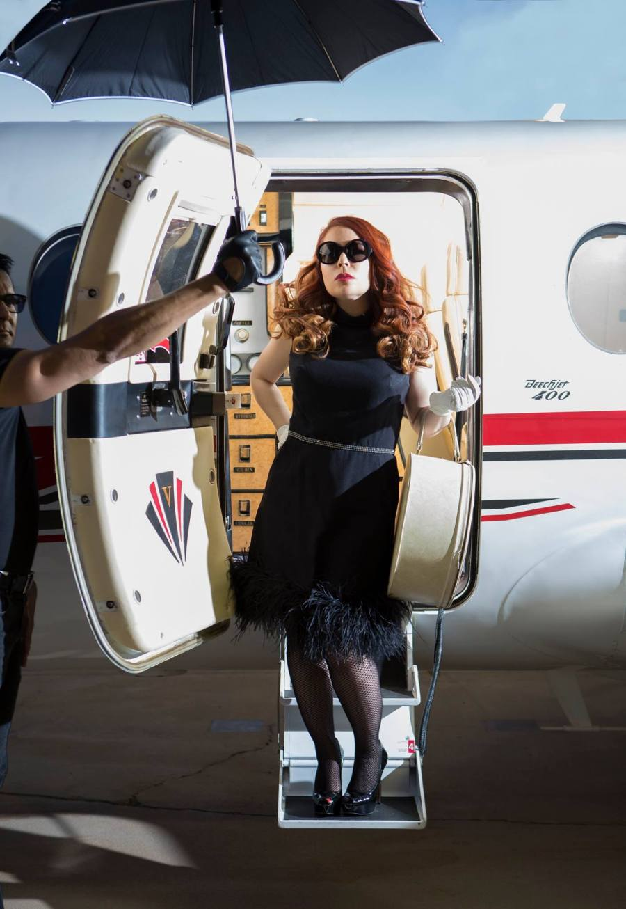 "The first images of a take-off experience that Nicole is sharing with all of us via #firstclassbelongings http://firstclassbelongings.com Myself as producer and as a ""umbrella holding"" behind scene master. Photography: www.chrisloomis.com Location: Pinnacle Aviation, Scottsdale Airport Photo: Chris Loomis Hair: Haley Bunkers makeup: Ori Brown Vintage dress: Fashion By Robert Black"