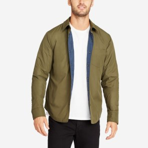 The Shirt Jacket - Olive Nylon on mannequin