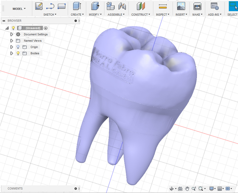 3D printing design, medical care, clean and creative process. Dentist promotion branding, design solution