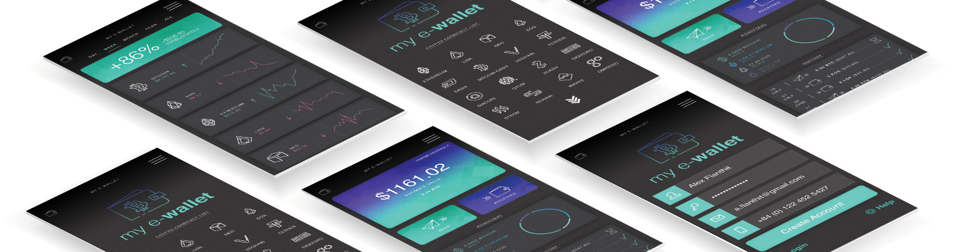 Mockup of E-Wallet App on iPhone screen, designed by whatzhat design agency. Crypto currency saldo check