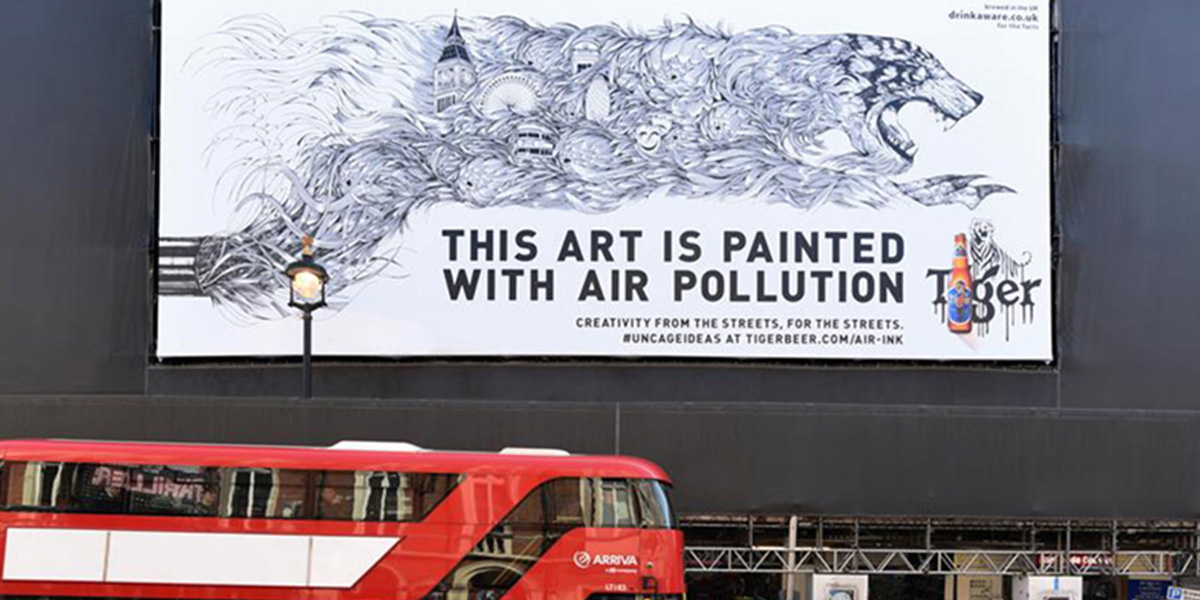 Picture of advertisement of Air Ink and Tiger Beer, Art is created with Air ink - made out of air pollution