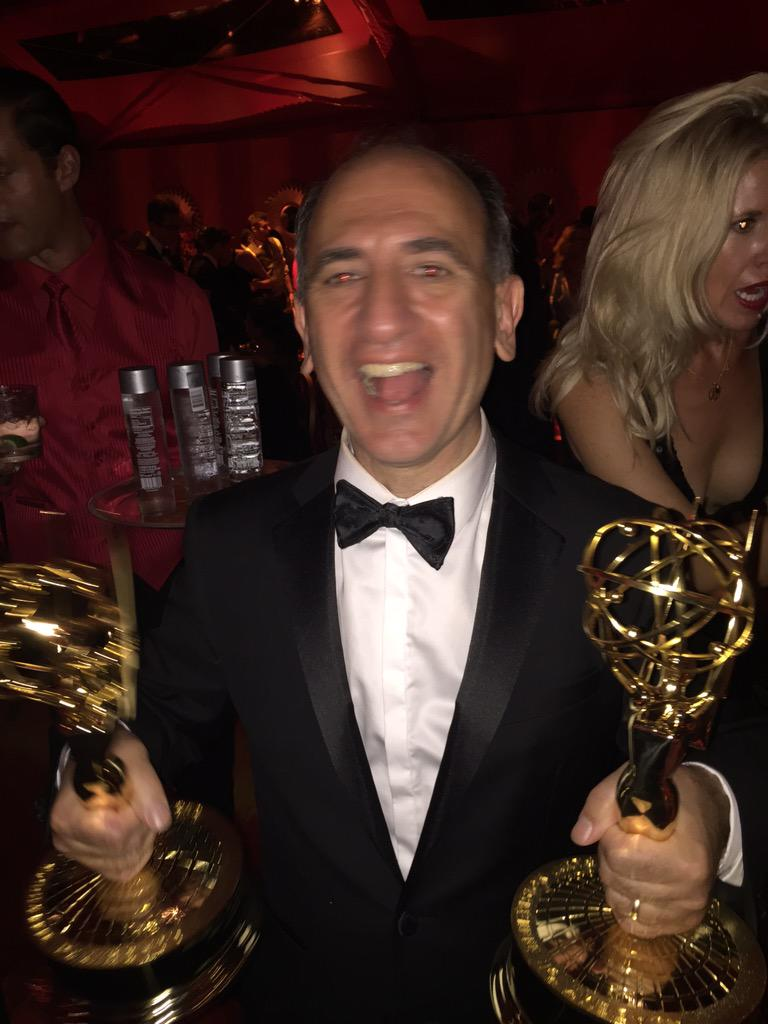 Armando Iannucci celebrates his Emmy wins.