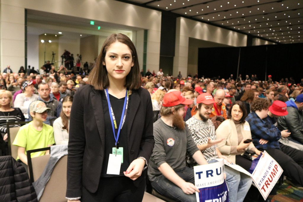 Rachel Greenberg, Volta Insider Podcast host at Trump rally, Cedar Rapids, Iowa February 1, 2016