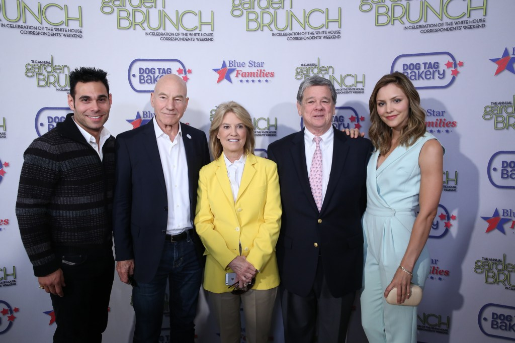 Eric Podwall, Patrick Stewart, Greta van Susteren, John Coale and Katherine McPhee at the 2014 White House Correspondents' Garden Brunch