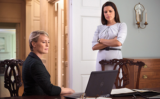 LeAnn Harvey (Neve Campbell) and Claire Underwood (Robin Wright) from the fourth season of House of Cards