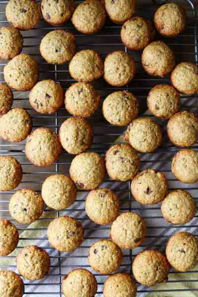 mini banana chocolate chip muffins on a wire rack