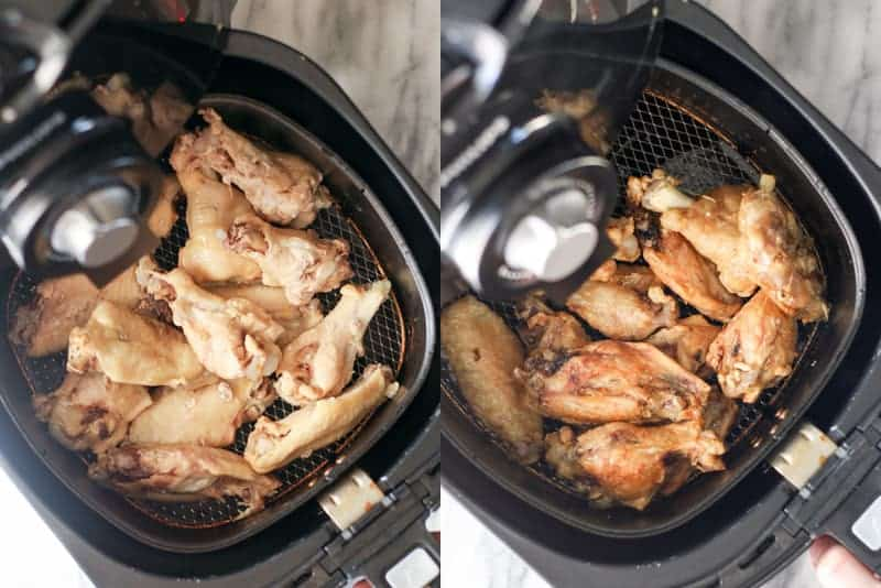 Wings in an air fryer basket before and after cooking