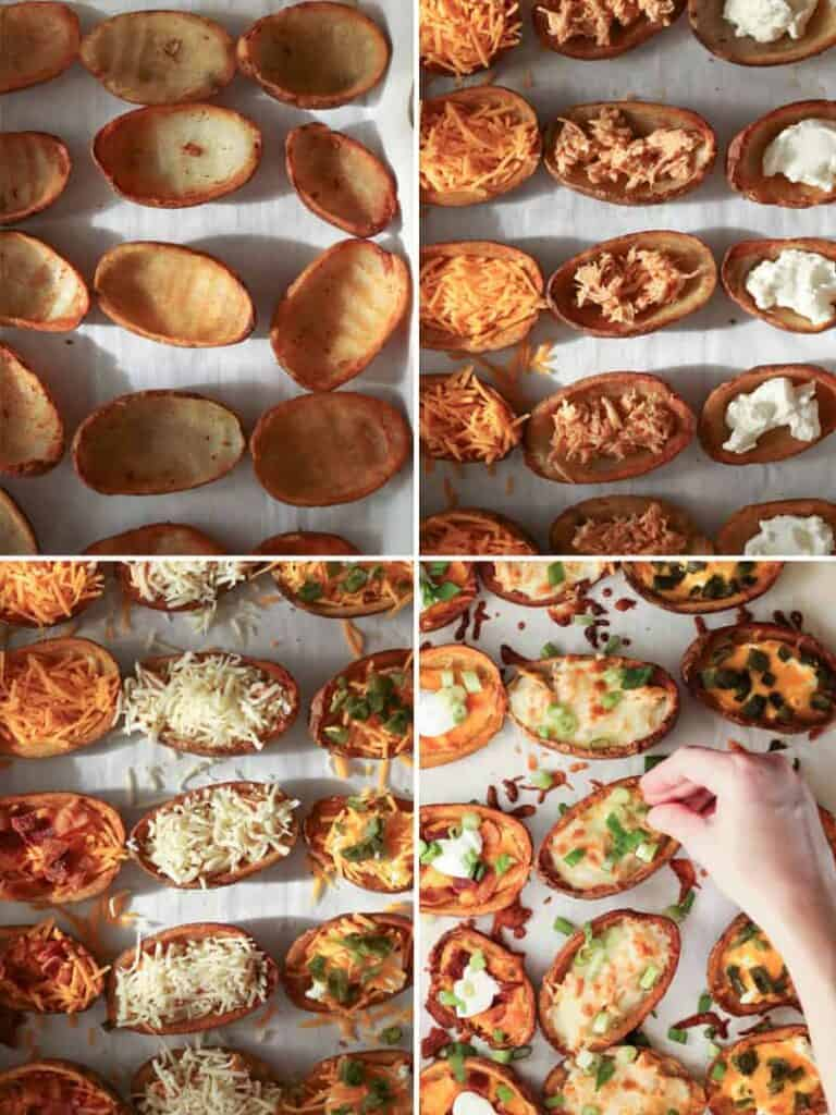 assembling the potato skins with cheeses and toppings