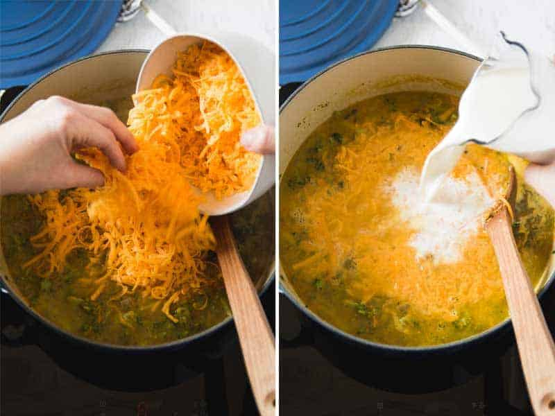 Adding in the cheese and cream.