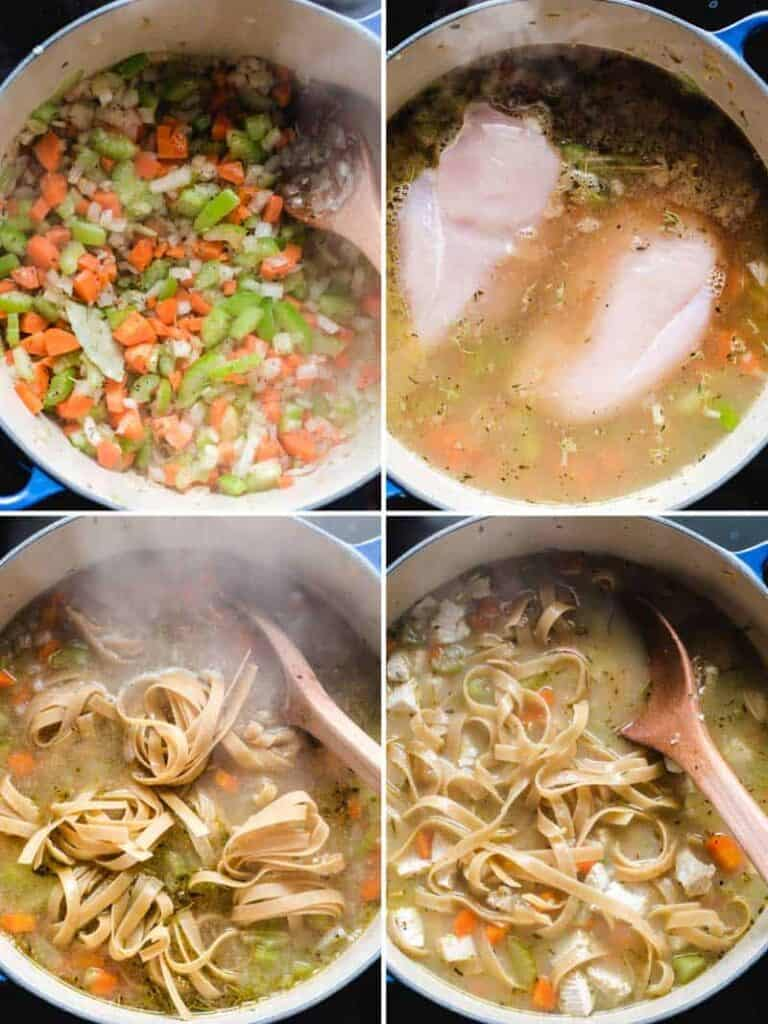 steps to make chicken noodle soup, sautéing vegetables, adding chicken and broth, cooking the noodles in the pot.