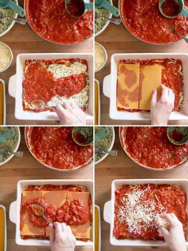 Steps to layering lasagna.