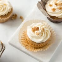 Easy carrot cake cupcake, unwrapped.