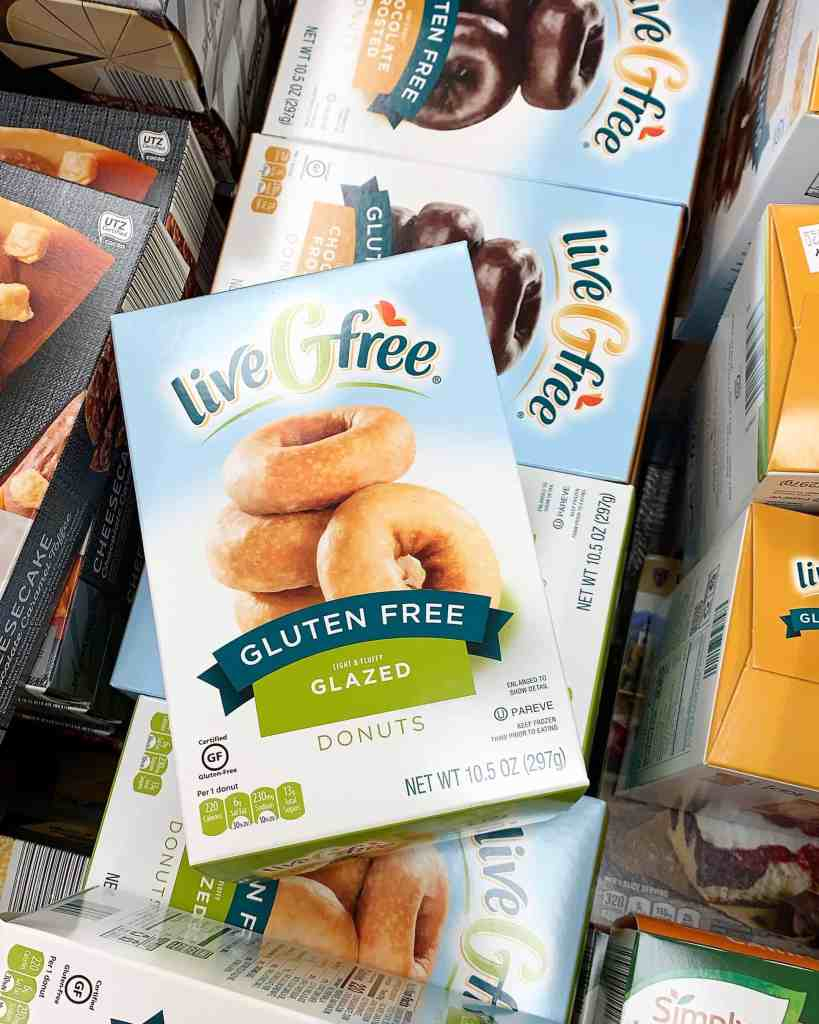 A freezer case full of Aldi Live G Free gluten free frozen donuts! Tips for gluten-free on a budget.