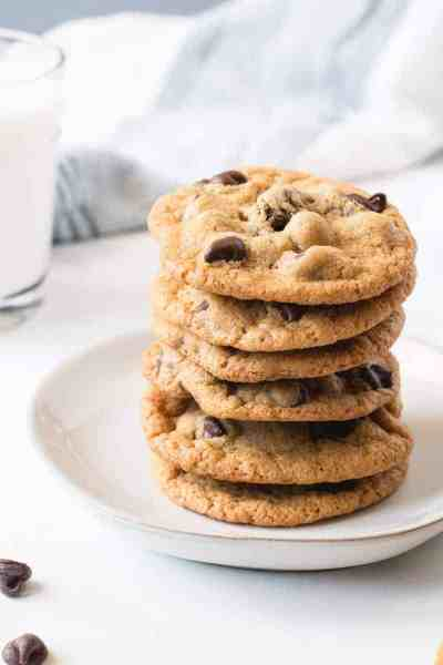 A stack of chocolate chip cookies.