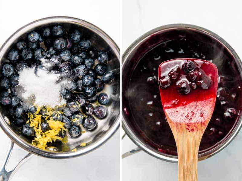 Blueberries, sugar, and lemon juice in a sauce pan, cooked down into blueberry sauce, shown on a wooden spoon.