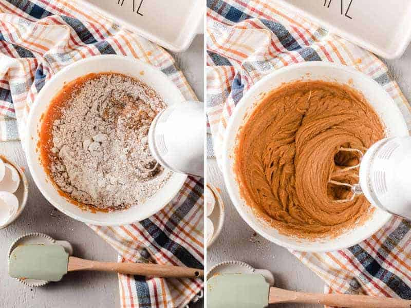 Left: Dry ingredients mixed into wet ingredients. Right: Pumpkin bread batter fully blended together.