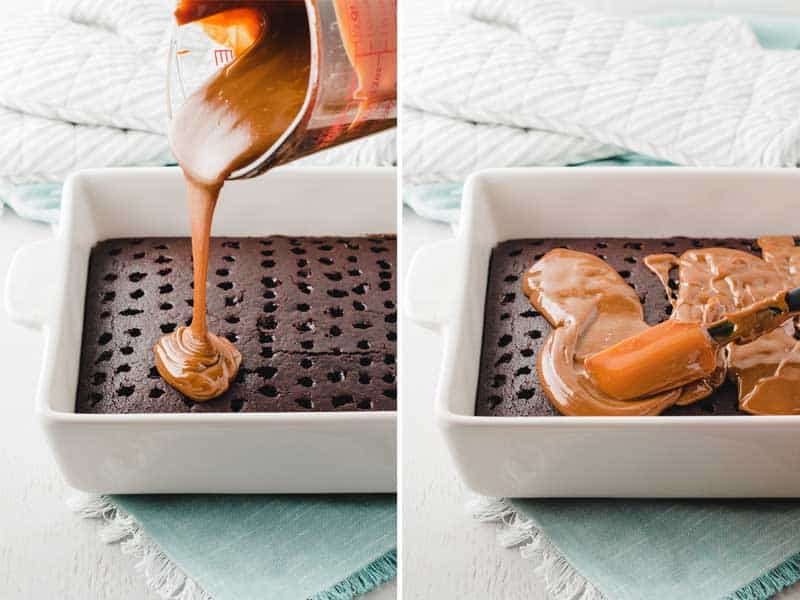 Pouring warmed dulce de leche over chocolate cake with holes poked in it.  Spreading the dulce de leche in even layer.