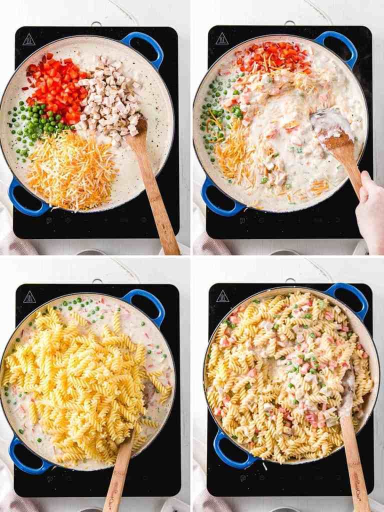 A picture collage showing the remaining vegetables and cheese on top, then stirred in, then the cooked noodles on top and then stirred in.