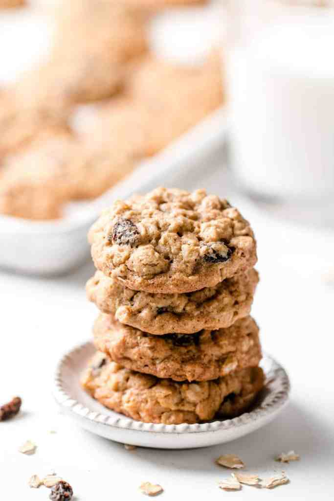 A stack of cookies on a small appetizer plate.