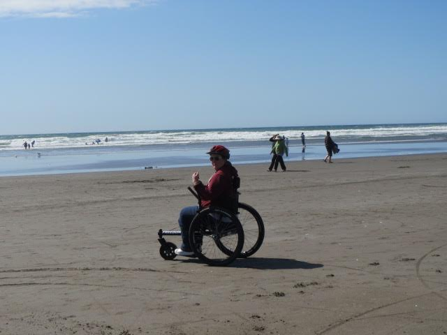 Christina Rae, seen here enjoying the beach, took advantage of GRIT's payment plan to fund her Freedom Chair