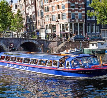 Wheelchair accessible Blue Boat Canal Cruise in Amsterdam, Netherlands.