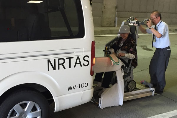 Wheelchair passenger transport van at Tokyo-NRT for ANA