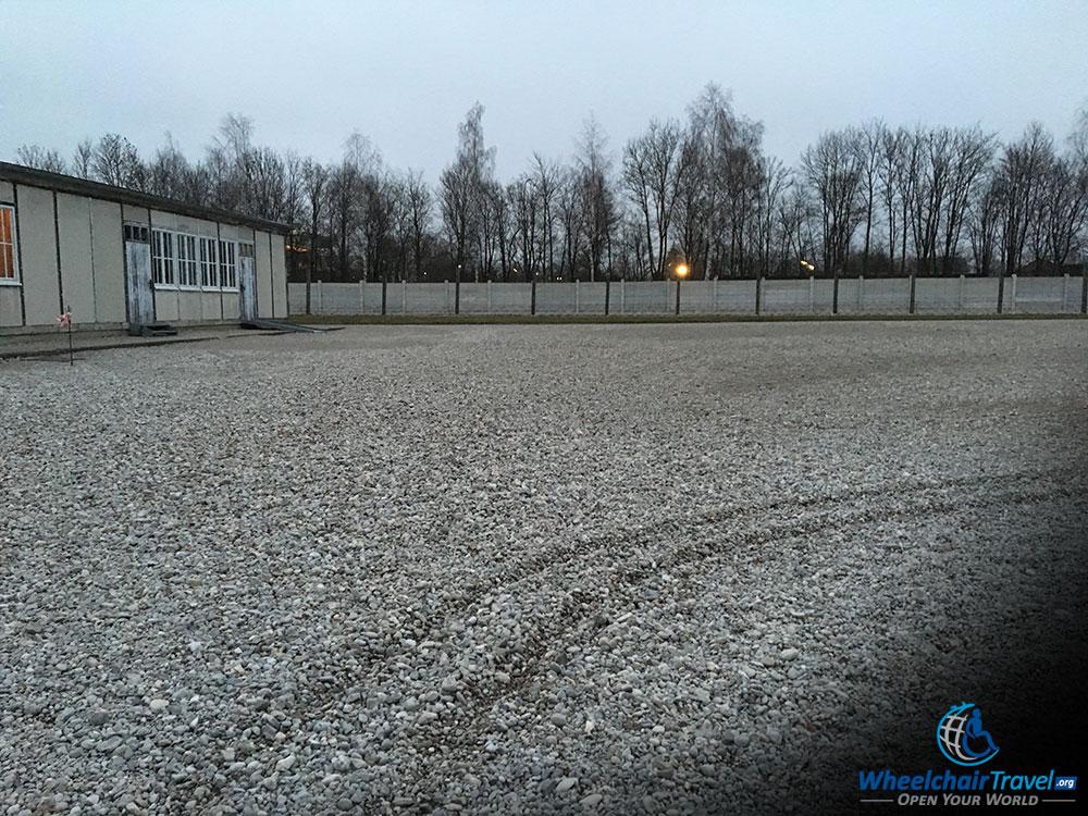 Wheelchair Tracks in a Stone Path at Dachau Concentration Camp