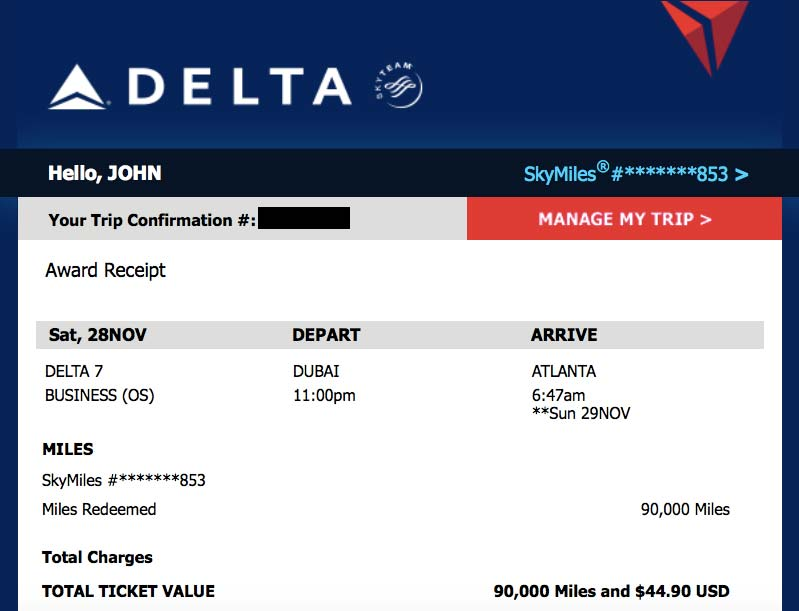 Delta Flight Ticket, Purchased with Skymiles
