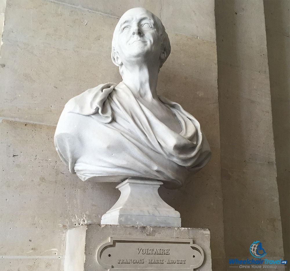 PHOTO DESCRIPTION: Sculpted bust of Voltaire.