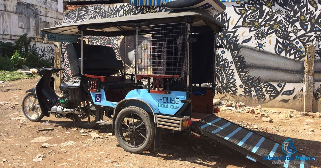 Mobilituk is a tuk-tuk with a wheelchair accessible ramp.